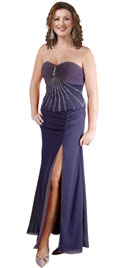 Two Piece Chiffon Gown With Rhinestone Broach