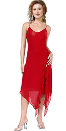 Stunning red soft georgette spring dress, with a fine detailed handkerchief hem.