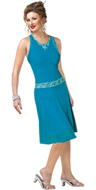 short chiffon tank dress with striking waistband and jewel neckline