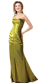 Pleated Satin Evening Gown