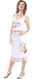 Embroidered Two Piece Georgette Ruffled Dress